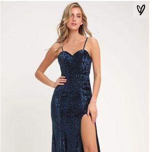 Elegant Navy Blue Sequin Maxi Dress